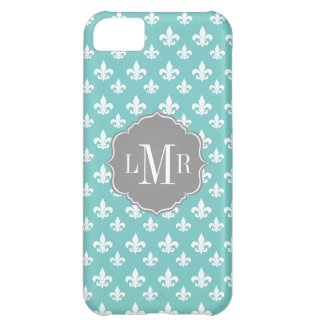 Mint Fleur De Lis Pattern Monogram iPhone 5C Case