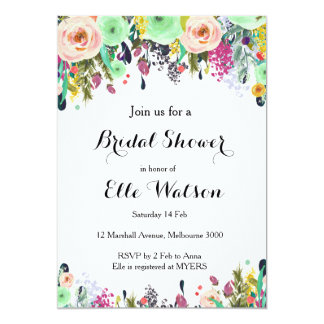 Mint Floral Bridal Shower Invitation