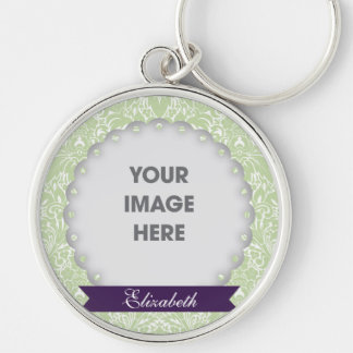 Mint Floral Damask Photo Keychain
