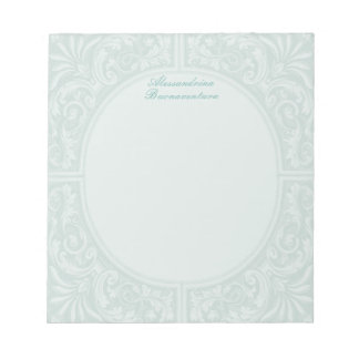 Mint Floral Relief Circular Frame Notepad
