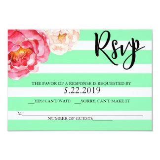 Mint Floral RSVP Card