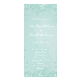 Mint floral swirl Wedding Program Custom Rack Cards