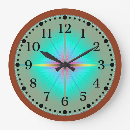 Mint Flower and Chocolate Wall Clock