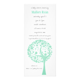 Mint Flowering Tree Baby Shower Invitation