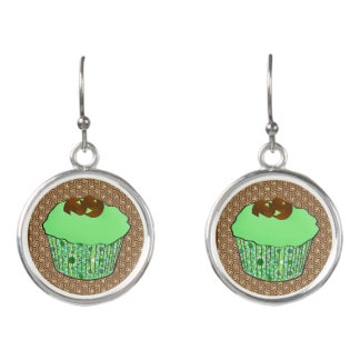 Mint Frosted Chocolate Cupcake, Fractal Background Earrings