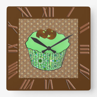 Mint Frosted Chocolate Cupcake, Fractal Background Wallclock