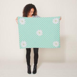 Mint Gingham Daisy Small Fleece Blanket