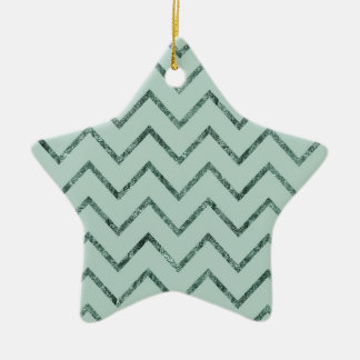 Mint Glam Chevron Zigzag Stripes Ceramic Star Decoration