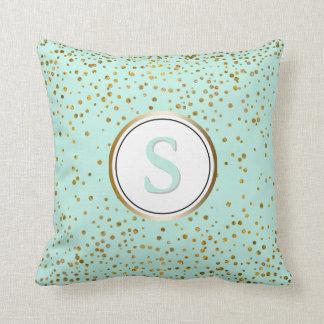 Mint Glam Gold Confetti Dots | Monogram Initial Cushion
