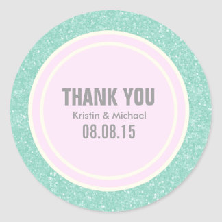 Mint Glitter & Light Pink Thank You Round Stickers