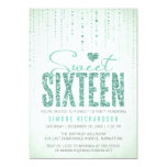 Mint Glitter Look Sweet 16 (Sixteen) Party 13 Cm X 18 Cm Invitation Card