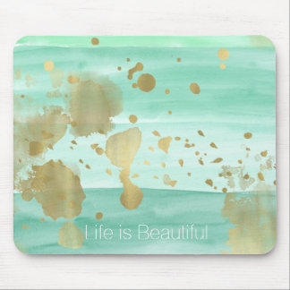 Mint Gold Abstract with Inspirational Quote Mouse Mat