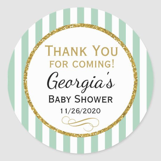 Mint Gold Baby Shower Thank You Coming Favour