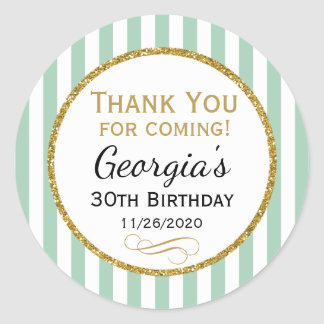 Mint Gold Birthday Thank You For Coming Favor Tags Round Sticker
