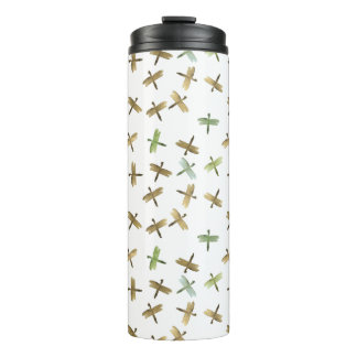 Mint Gold Blue Watercolor Dragonflies Thermal Tumbler