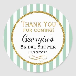 Mint Gold Bridal Shower Thank You Coming Favor Tag Round Sticker
