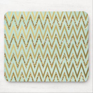 Mint & Gold Chevron Mousepad