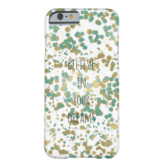 Mint Gold Confetti Personalized Barely There iPhone 6 Case