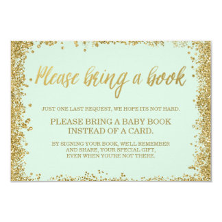 Mint Gold Faux Glitter Baby Shower Book Card