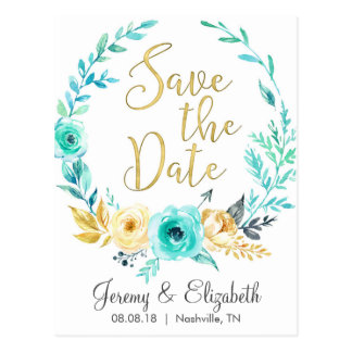 Mint & Gold Floral Save the Date Postcards