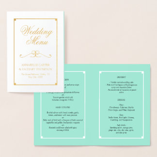 Mint & Gold Foil Elegant Wedding Menu