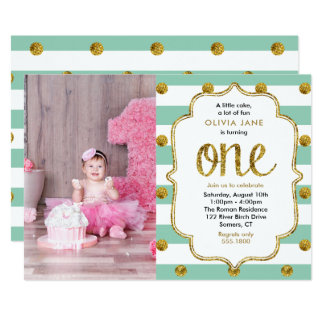 Mint, Gold Glitter First Birthday Photo Invitation