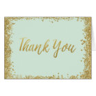 Mint Gold Glitter Thank You Card
