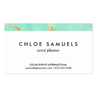 Mint & Gold Marble Abstract Aqua Teal Painted Look Business Card Templates