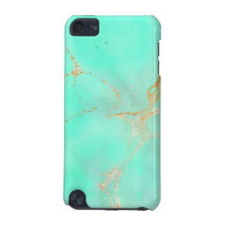 Mint & Gold Marble Abstract Aqua Teal Painted Look iPod Touch 5G Cases
