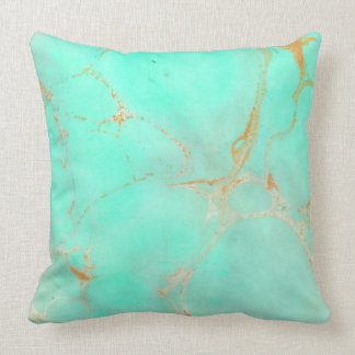 Mint & Gold Marble Abstract Aqua Teal Painted Look Throw Pillow