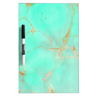 Mint & Gold Marble Abstract Aqua Teal Painted Look Dry Erase Board