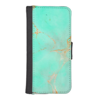 Mint & Gold Marble Abstract Aqua Teal Painted Look iPhone SE/5/5s Wallet Case