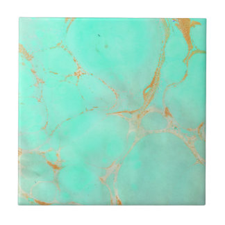 Mint & Gold Marble Abstract Aqua Teal Painted Look Small Square Tile