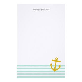 Mint & Gold Nautical Stripes and Cute Anchor Stationery