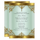 Mint Gold Pearl Damask Cross Baptism Christening 3 Card