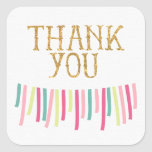 Mint Gold Pink Ribbon Banner Thank You Sticker