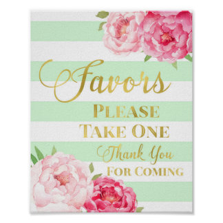 Mint Gold Pink Watercolor Floral Favors Sign Poster