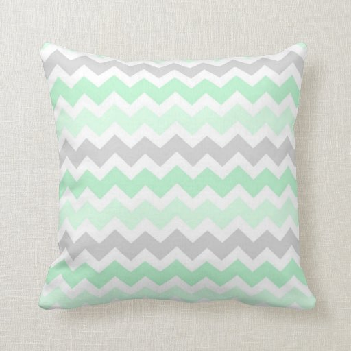 Mint Gray Chevron Decorative Pillow