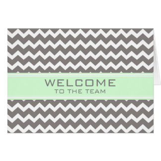 Mint Gray Chevron Employee Welcome to the Team Greeting Card