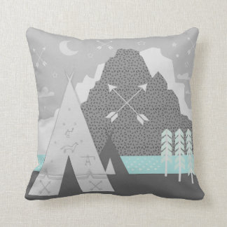 Mint Gray Indian Tribal Tepee Arrow Moon Mountain Cushion