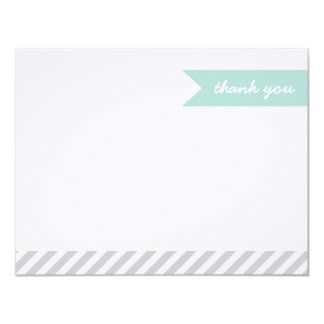 Mint & Gray Modern Flag & Stripes Thank You Cards