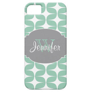 Mint & Gray Trendy Patterns monogram iPhone 5 iPhone 5 Cases