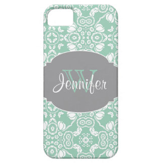 Mint & Gray Trendy Patterns monogram iPhone 5 iPhone 5 Cover
