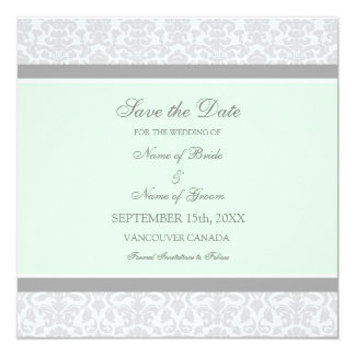 Mint Gray Wedding Save the Date Card