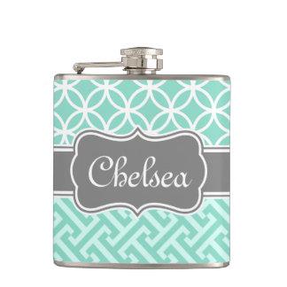 Mint Greek Key and Circle Patterns Grey Name Hip Flask