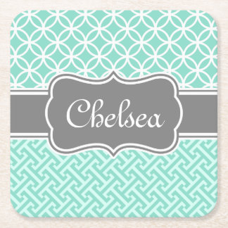 Mint Greek Key and Circle Patterns Grey Name Square Paper Coaster