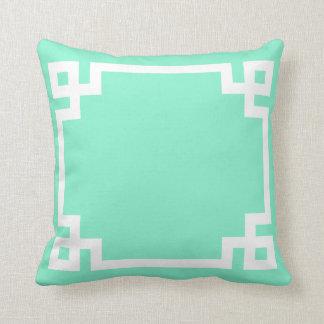 Mint Greek Key Pillow