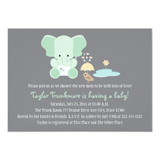 "Mint Greem Elephant Little Bird Baby Shower 5"" X 7"" Invitation Card"