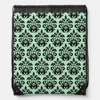 Mint green and black damask drawstring bag