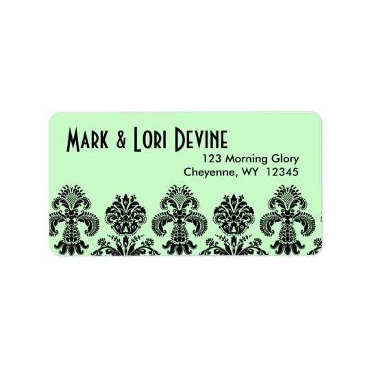 Mint green and black pattern designer labels
